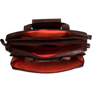 Chesterfield Leren Fietstas Laptoptas 15.6 inch Geneva Bruin Open