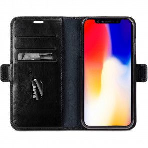 dbramante1928 Copenhagen Leather Wallet iPhone XS Max Zwart Open