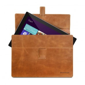 dbramante1928 Hellerup Leather Envelope Microsoft Surface 3/4 RT & Pro Tan Open