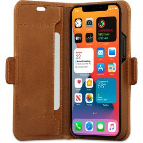dbramante1928 Leren Wallet Hoesje iPhone 12 mini Copenhagen Tan Open