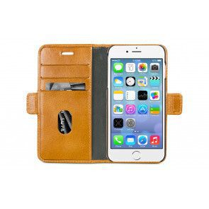dbramante1928 Lynge Leather Wallet iPhone 8/7/6 Series Tan Open