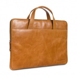 dbramante1928 Silkeborg Leather Sleeve Tan 15 inch schuin voorkant links