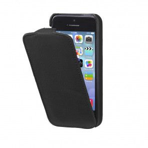 Decoded iPhone 5/5S/SE Leather Flip Case Black Open