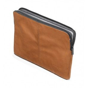 Decoded Leather Sleeve MacBook Air 12 inch Brown Voorkant open