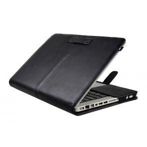 Decoded Leather Sleeve Strap MacBook Air 13 inch Black Open
