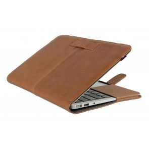Decoded Leather Sleeve Strap MacBook Air 11 inch Vintage Brown Half open