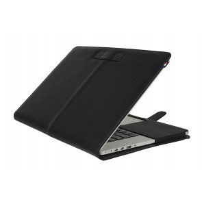 Decoded Leather Sleeve MacBook Pro 13 inch Retina Black Strap Voorzijde Open