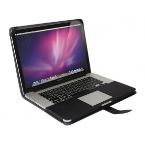 Decoded Leather Sleeve MacBook Pro 13 inch Retina Black Strap Open met MacBook