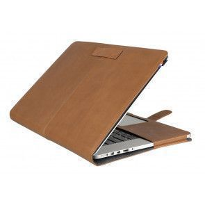 Decoded Leather Sleeve MacBook Pro 13 inch Retina Vintage Brown Strap Voorzijde Open