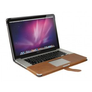 Decoded Leather Sleeve MacBook Pro 13 inch Retina Vintage Brown Strap Open met MacBook