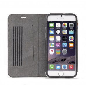 Decoded iPhone 6 Leather Surface Wallet Black Open