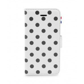 Decoded iPhone 5/5S/SE Leather Wallet White Polka voorkant