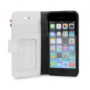 Decoded iPhone 5/5S/SE Leather Wallet White Polka open
