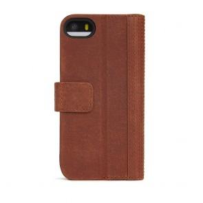 Decoded iPhone 5/5S/SE Leather Wallet Case met magneetsluiting Brown Achterkant