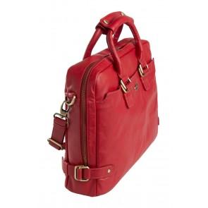 dR Amsterdam Faggio Dames Werktas 15 inch Red Zijkant