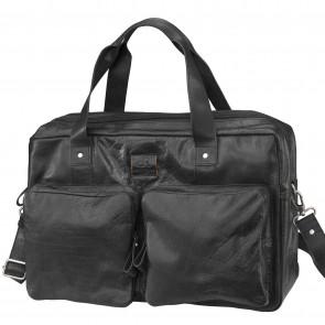 Knomo Audley Slim Leather Shoulder Tote Black 14 inch Voorkant