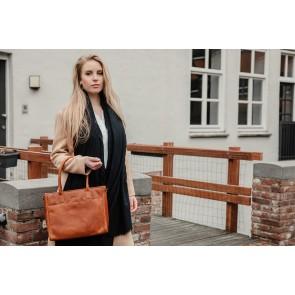 DSTRCT Dames Leren Handtas Wax Lane 380730 Cognac Model