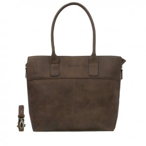 DSTRCT Fletcher Street Dames Laptop Tote Brown 15 inch Voorkant