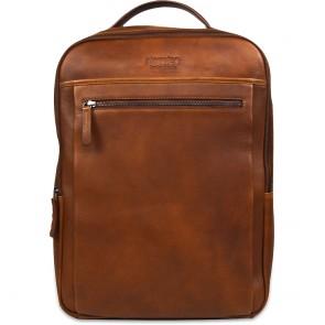 DSTRCT Leren Laptop Rugzak 15.6 inch Premium Collection Incl. Onderhoudspakket Cognac Voorkant