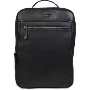 DSTRCT Leren Laptop Rugzak 15.6 inch Premium Collection Incl. Onderhoudspakket Zwart Voorkant