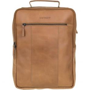 DSTRCT Leren Laptop Rugzak 15 inch River Side Cognac Voorkant