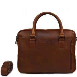DSTRCT Leren Laptoptas 14 inch Premium Collection Incl. Onderhoudspakket Cognac Voorkant