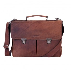 DSTRCT Wall Street Business Bag Double Zipper Brown 15 inch Voorkant