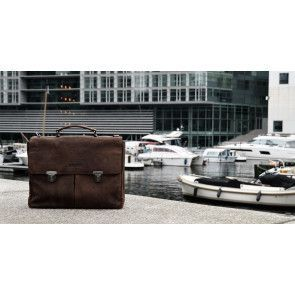 DSTRCT Wall Street Business Bag Double Zipper Brown 15 inch Lifestyle
