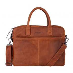 DSTRCT Wall Street Business Bag Cognac 11-14 inch Voorkant