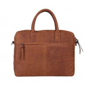 DSTRCT Wall Street Business Bag Cognac 11-14 inch Achterkant