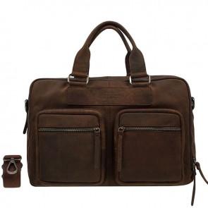 DSTRCT Wall Street Laptop Bag Brown 13-15 inch Voorkant