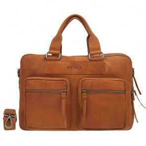 DSTRCT Wall Street Laptop Bag Cognac 13-15 inch Voorkant