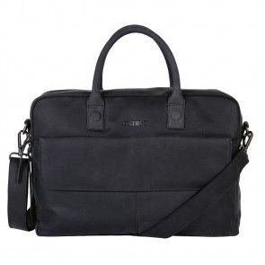 DSTRCT Wall Street Business Laptop Bag Black 15-17 inch Voorkant