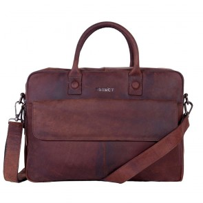 DSTRCT Wall Street Business Laptop Bag Brown 15-17 inch Voorkant