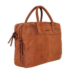 DSTRCT Wall Street Business Laptop Bag Cognac 13-15 inch Voor- ijkant