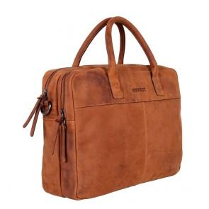 DSTRCT Wall Street Business Laptop Bag Cognac 13-15 inch Voor- ijkant