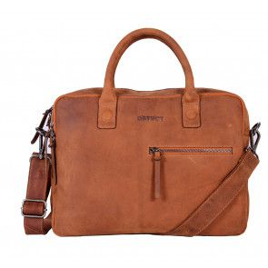 DSTRCT Wall Street Business Bag Double Zipper Cognac 15 inch Voorkant