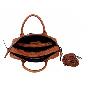 DSTRCT Wall Street Business Bag Double Zipper Cognac 15 inch Open