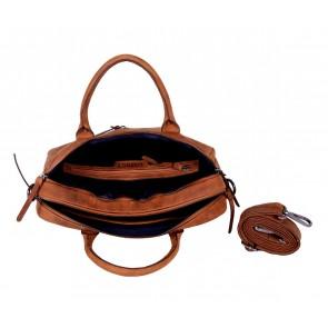 DSTRCT Wall Street Business Bag Double Zipper Cognac 15 inch Open