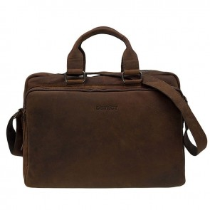 DSTRCT Wall Street Laptop Bag Brown 15-17 inch Voorkant