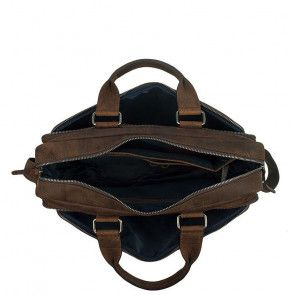 DSTRCT Wall Street Laptop Bag Brown 15-17 inch Open