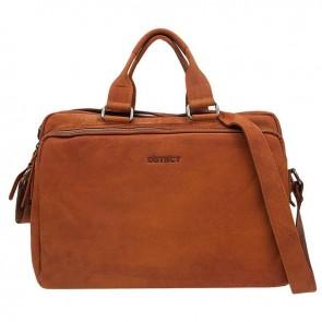 DSTRCT Wall Street Laptop Bag Cognac 15-17 inch Voorkant