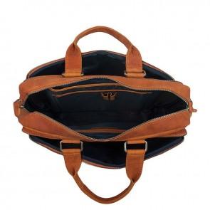 DSTRCT Wall Street Laptop Bag Cognac 15-17 inch Open