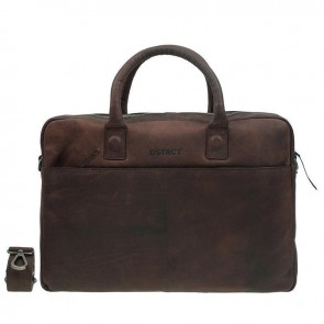 DSTRCT Wall Street Business Bag Brown 15-17 inch Voorkant
