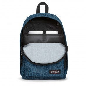 Eastpak Out of Office Rugzak Navy Blocks 14 inch Voorkant Open