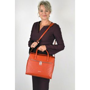 Gigi Fratelli Dames Leren Laptoptas / Tablet tas 10 inch Romance Business ROM8010 Oranje Model