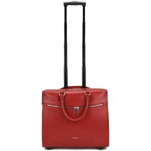 Gigi Fratelli Dames Leren Laptop Trolley 15.6 inch Romance Business ROM8015 Rood Voorkant Trekstang