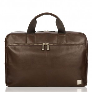 Laptoptas Amesbury Leather Briefcase Brown 15.6 inch Voorkant