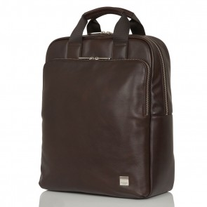 Knomo Dale Leather Backpack Brown 15 inch Voorkant