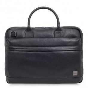 Knomo Foster Leather Laptop Briefcase Black 14 inch Voorkant